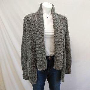 J CREW Cable knit heavy grey sweater sz S